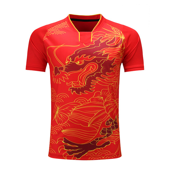 China Dragon Stlyle Table Tennis Training Uniforms Shirt Red